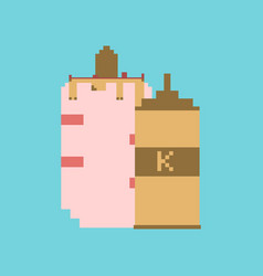 Pixel icon in flat style french hot dog and vector