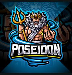 Poseidon esport mascot logo vector