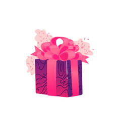Present box wrapped with pink and purple vector