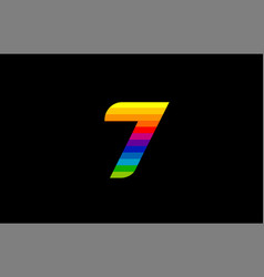rainbow color colored colorful number 7 logo icon vector image