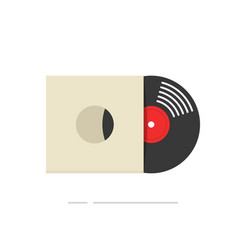 record album icon isolated flat vinyl vector image