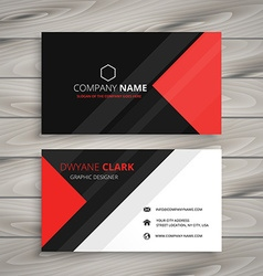 red black corporate business card vector image