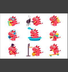 red dragon everyday activities set of vector image