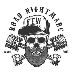 road nightmare hipster skull in baseball cap with vector image