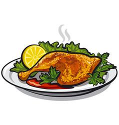 Roasted chicken leg vector