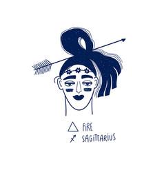 Sagittarius sign with beautiful girl vector