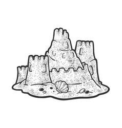Sand castle sketch vector