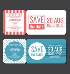 Save date minimalist invitation ticket vector