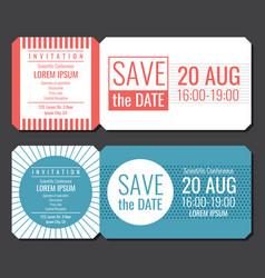 Save the date minimalist invitation ticket vector