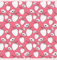 seamless pattern with strawberries pink vector image