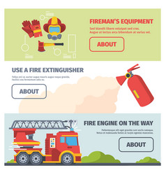 service firefighter horizontal banners special vector image