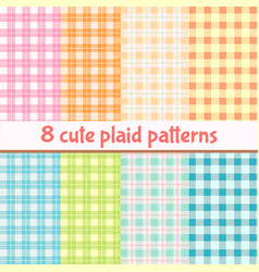 set cute plaid seamless patterns background vector image