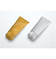 Set mockups realistic plastic thin tube for vector