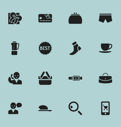 set of 16 editable trade icons includes symbols vector image