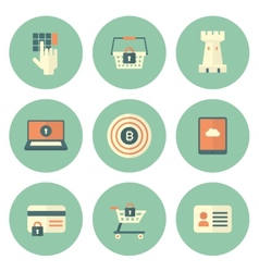 Set of Circle Security Icons vector