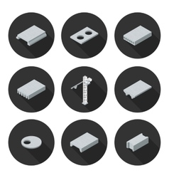 set of flat icons slab vector image