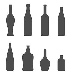 Set of Glass Bottles icons Wine beer whiskey vector
