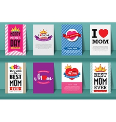 Set of Mothers day brochures in vintage style vector