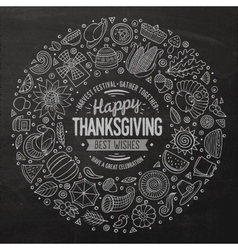 Set of Thanksgiving cartoon doodle objects vector