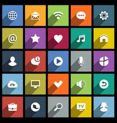 set of universal flat icons for web internet vector image