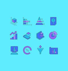 set simple line icons web analytics vector image