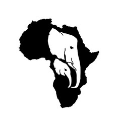 Silhouette of black africa with elephant vector