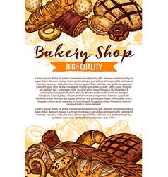 Sketch bread poster for bakery shop vector