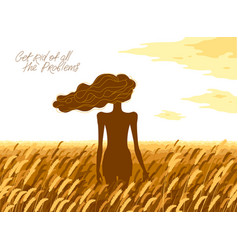 slim young girl from back stands in a wheat field vector image