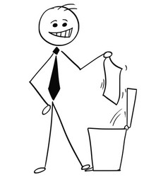 smiling businessman throwing paper in trash can vector image