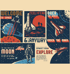 Space exploration vintage colorful posters vector