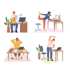 stretching employees working from home or office vector image