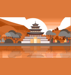 traditional korea temple over mountains silhouette vector image