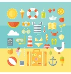 Travel vacation modern style flat design set vector image