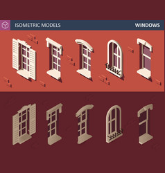 various isometric windows set 3d isometric vector image