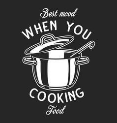 vintage cookware monochrome logo vector image