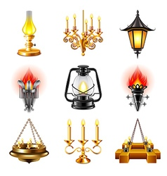 Vintage lamps icons set vector image