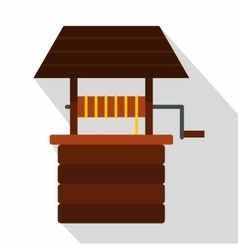 Water well icon flat style vector
