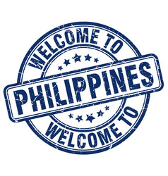 Welcome to philippines blue round vintage stamp vector