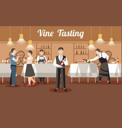 wine tasting concept flat vector image