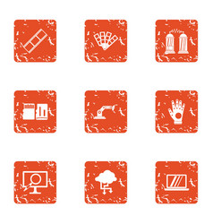 Wireless protection icons set grunge style vector