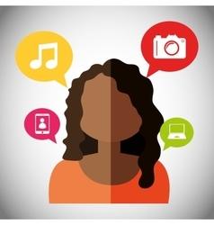 Woman avatar and social media design vector image