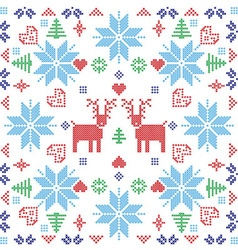 Xmas pattern in square shape with reindeers vector image
