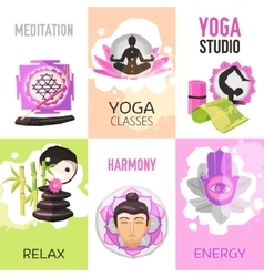 Yoga Poster Set vector image