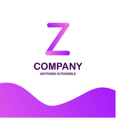 z company logo design with purple theme vector image