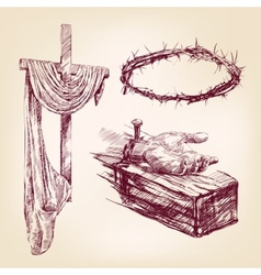 christianity collection isolated hand drawn vector image vector image