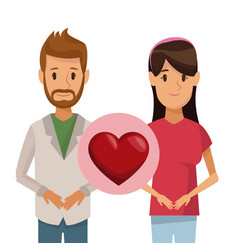 Colorful poster half body couple bearded man and vector