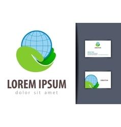 ecology logo design template earth or vector image vector image