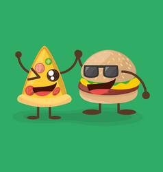 kawaii burger and pizza character food vector image