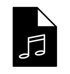 music file silhouette icon audio format mp3 vector image
