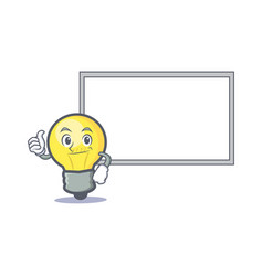 okay light bulb character cartoon with board vector image
